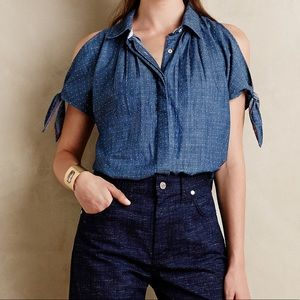Anthropologie Holding Horses Split Chambray Top